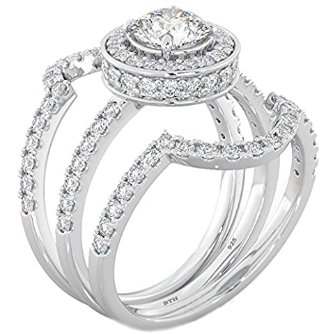 Ladies Ring-Halo Design 3 piece 925 Sterling Silver Luxury Affordable Wedding Engagement Bridal Ring Set