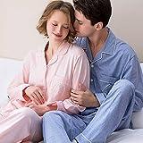 Xing Hua home Pijama de Manga Larga Primavera Pareja Rebeca de Solapa Hombres y Mujeres Servicio a Domicilio Traje de casa de algodón de Color sólido Rosa Azul (Size : M175(XL))