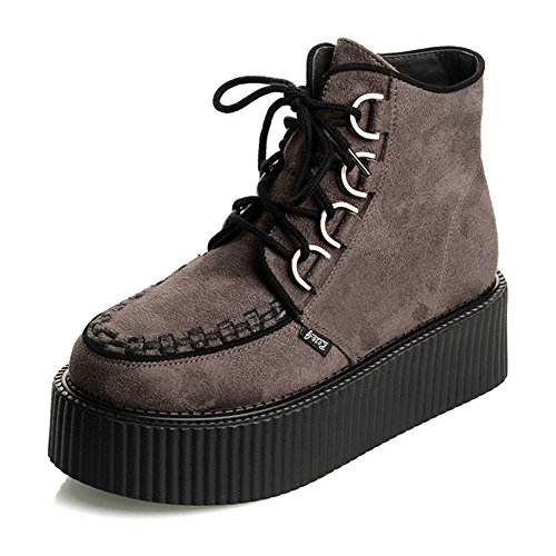 zapatos Mujer Polacchine Zapatos Plataforma Botas Cordones Negro Gris35