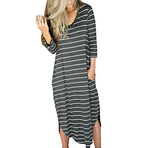 Vovotrade® Femmes Rayées Loose Longue Robe Plage Party Robe Décontractée avec Poche Noir et Blanc (Size:XL, Gris)