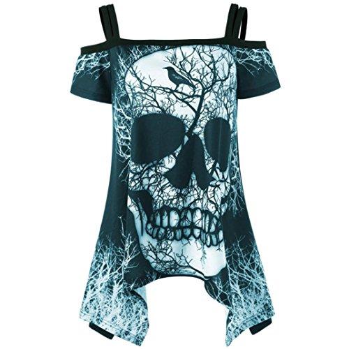 VJGOAL Women Short Sleeve Irregular Open Shoulder Skull Handkerchief Print T Shirt Top Slash Neck Blouse