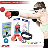 StrikeGuru - Boxing Reflex Fight Ball - pro speed punch training exercise for fitness, mma, combat and fighting sports - with headband and gloves - punching trainer equipment for kids and adults