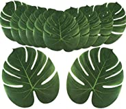 DAYONG 12Pcs Large Artificial Tropical Palm Leaves for Hawaiian Luau Party Decoration, DIY Palm Leaf Place Mat