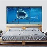 GWELL 3D Look Wandsticker Fototapete Wandtattoo Selbstklebend Entfernbar Wandaufkleber Wanddeko Hausdekoration für Schlafzimmer Wohnzimmer Hai