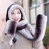 ZEMIN Schal mit Kappe Handschuh Integration 3-Teiliges Set Kältebeständig Draussen Winter Herbst Länge 220cm, 4 Farben Optional Schal (Farbe : 2#)