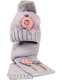 Queta Ragazza Inverno Caldo per Bambini a Maglia Fiori Bambini Cappello  Sciarpa Set e93b79393dc8