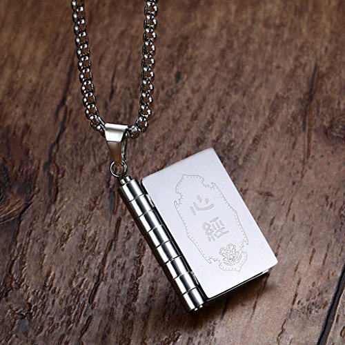 ELECTROPRIME Titanium Buddhist Texts Book Style Link Chain Pendant Necklace Men's Jewelry