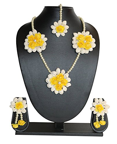 Sanvatsar Yellow Rose Mogra Flower Jewellery Set (haldi mehndi sangeet wedding bridal)