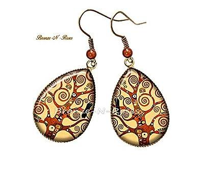 """Boucles d'oreilles gouttes """" Arbre de vie """" cabochon bronze pendant Gustav Klimt reproduction jaune verres"""