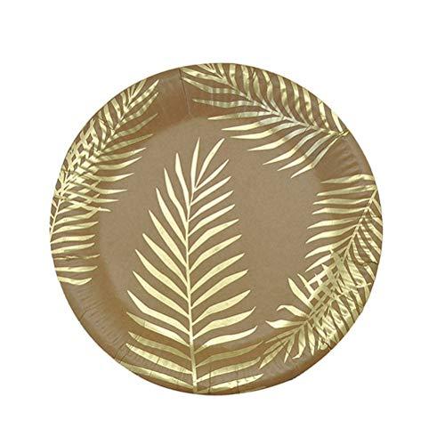 Amosfun 8 stücke 9 Zoll Einweg Pappteller Kuchenplatten Palmblatt Dekoration für Hawaii Luau Partei Liefert