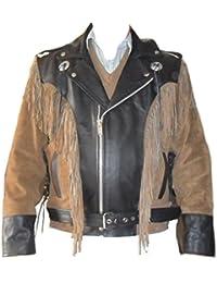 Classyak pour Homme Cowboy Western Cuir Veste de Moto 9fb572cfa6d7