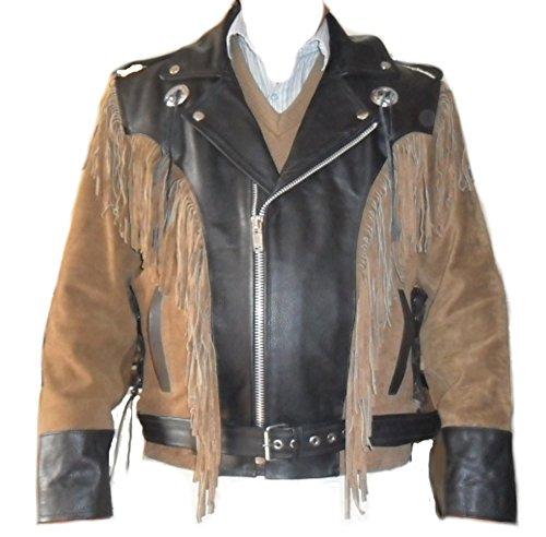 Classyak Hombres de Cowboy Western Piel Moto Chaqueta Marrón Cow Brown X-Large