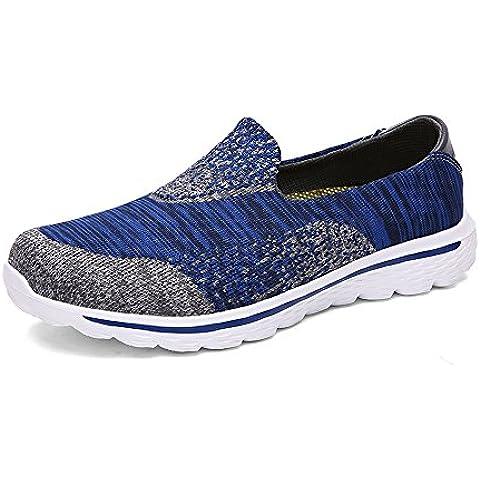 T.B Unisex adulto Zapatillas de caminar de los hombres y las mujeres de Go Walk Mujer Zapatillas Slip On Zapatillas de deporte ocio zapatos al aire libre corriendo entrenador, azul/gris, 4,5