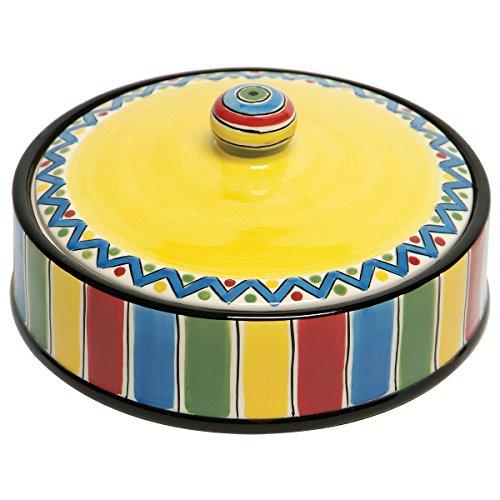 Thompson & Elm M. Bagwell Fiesta Caliente Ceramic Tortilla Warmer, Small, Multicolor Crate Barrel