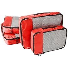AmazonBasics 4-Piece Packing Cube Set - 2 Medium and 2 Large, Red