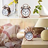 SCILLA Twin Bell Copper White Edition Vintage Look Table Alarm Clock with Night Led Display Copper Table Alarm Clock