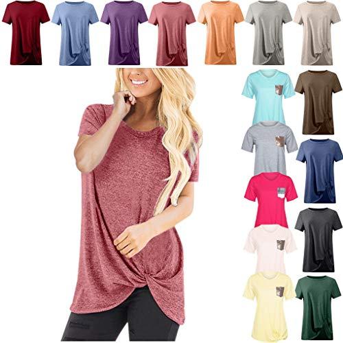 Dorical Tshirt Oberteile für Damen Frauen Kurzarm Rundhal Lose Shirt,Oversize Oberteile,Casual Tops Tee,Ladies Sommer Hemd Lässige Tunika Bluse Shirt,Strand Partykleid - Kragenlos Bluse