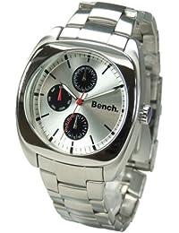 Bench BC0023SL - Reloj de cuarzo para hombre con correa de acero inoxidable, color plateado
