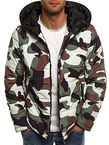 OZONEE Herren MIX Winterjacke Wärmejacke Kapuzenjacke Camouflage Militärstil Sweatjacke Steppjacke Jacke Sportjacke Kapuzenjacke OZONEE 3167 CAMO M (Kapuzenjacke Camo)