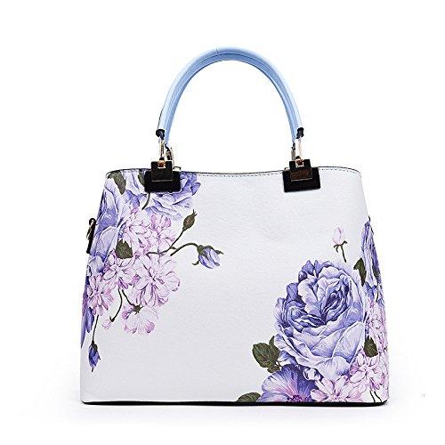 Mefly La nuova borsa donna la stampa sacchetto signora bella spalla All-Match Rosa Sky blue