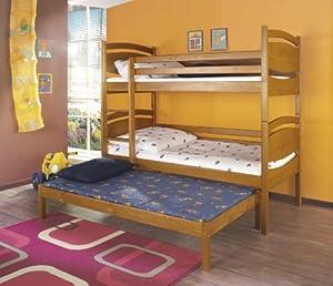 CEZAR Children Triple Bunk Bed - Pine Wood - 24 Colours - 2 Sizes - 4 Types of Mattresses