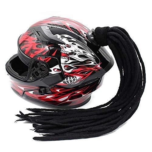 D&F Helm Pferdeschwanz Motorrad Fahrrad Helm Zöpfe Haar mit Saugnapf Bowknot Perücken Dekoration 1Pcs 24 Zoll,D