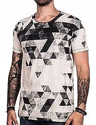 Impresión Geométrica de Los Hombres en Cuello Redondo Camiseta Delgada de Manga Corta , Blanco , Sg