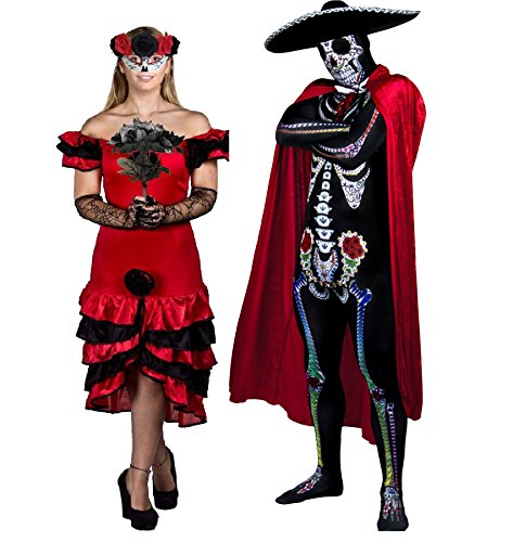 ILOVEFANCYDRESS Halloween Karneval Fasching Party KOSTÜM VERKLEIDUNG FÜR Paare Day of The Dead=Kleid+Maske+Handschuhe+Blumen+Skinsuit+UMHANG+Sombrero+Fliege=Frauen-SMALL+MÄNNER-SMALL