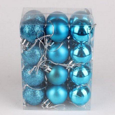King.mi 24 pz palle albero di natale di plastica decorazioni vacanza charms partito festival ornamenti decor size 3cm (azzurro cielo)