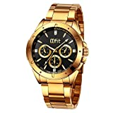 Gold Wrist Watches for Men, Men's Gold Stainless Steel Luxury Analog Watch with Classic Black Dial