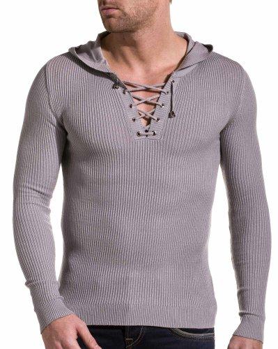 BLZ jeans - Pull a capuche gris clair fashion 5545 Gris Clair Gris