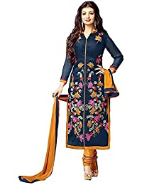 Woman's Net Embroidered Anarkali Semi-Stitched Gown (All_Copper_Semi-Stitiched_Gown) (Nevy Blue)