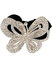 Pink Rose - Princess Collection White Alloy Stone Butterfly Hair Band For Women/Girls