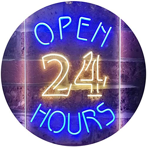 ADVPRO Open 24 Hours Shop Business Welcome Dual Color LED Barlicht Neonlicht Lichtwerbung Neon Sign Blue & Yellow 210mm x 300mm st6s23-i2035-by