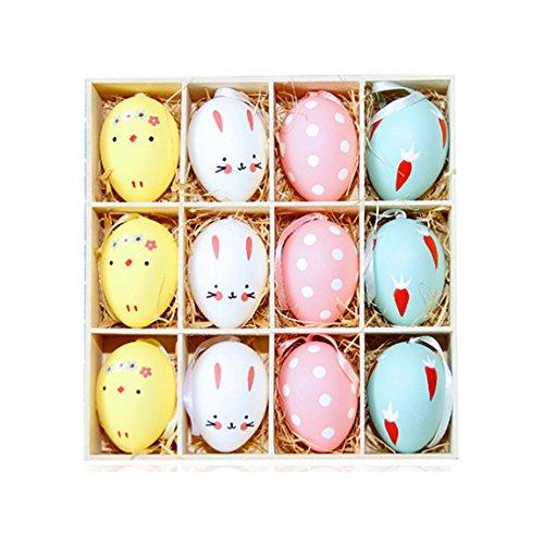 Ostereier 12 Sets Bund Bemalte Eier Ostern Dekoration Osterhänger Plastik Osterdeko Kinderspielzeug
