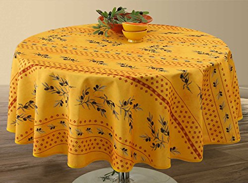 Nappe anti-taches Olivette jaune - taille : Ovale 150x240 cm