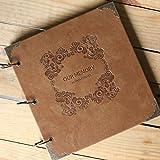 saibang Retro Piel DIY álbum de fotos, 3anillos boda libro de visitas–álbum de álbumes de recortes a mano para siempre memoria