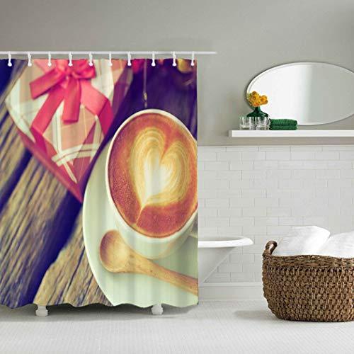 YLXINGMU Großer Duschvorhang Wasserdicht Und Geschmacklos Umweltschutz Kaffeetasse Und Geschenkbox...