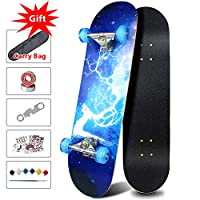 ‏‪Easy_Way Complete Skateboards- Standard Skateboards with Colorful Flashing Wheels for Beginners Kids Boys Girls Teenager- 31''x 8''Canadian Maple Cruiser Pro Skate Board, Skateboards… (Deer Blue)‬‏