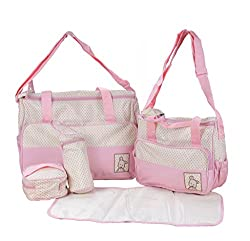 Prettykrafts Baby Diaper Bag with Mommy Bag - Maternity Handbags - Changing Baby Messenger Bag - Baby Care Travel Organizer Kit of 5 Pieces - Pink