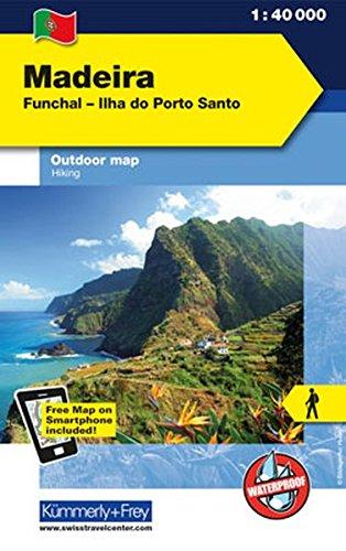 Madeira Outdoorkarte 1 : 40.000: Funchal-Porto Santo. Wanderwege, Radwanderwege, Nordic Walking: Funchal - Ilha do Porto Santo. Wanderkarte ... International), wasser-und reissfest