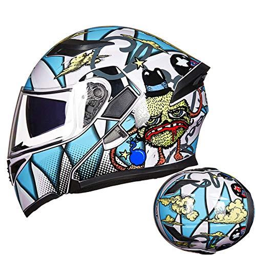 KLJDSGJ Anti-Nebellinse für Motorradhelm für Erwachsene mit Bluetooth-Headset,H-M=55-57cm