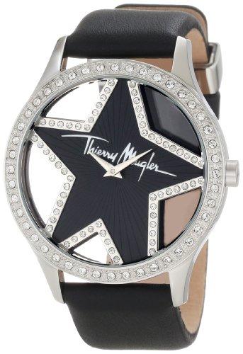 Thierry Mugler - 4711401 - Montre Femme - Quartz Analogique - Cadran Noir - Bracelet Cuir Noir