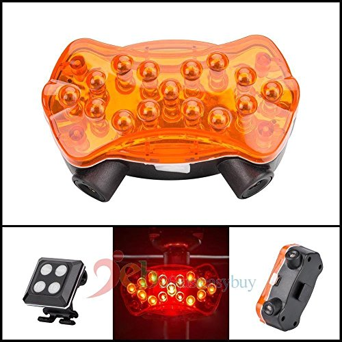 Tradico® 1 x Cycling Bike Bicycle Light LED Front Rear Safety Lamp Rechargeable 15 LED