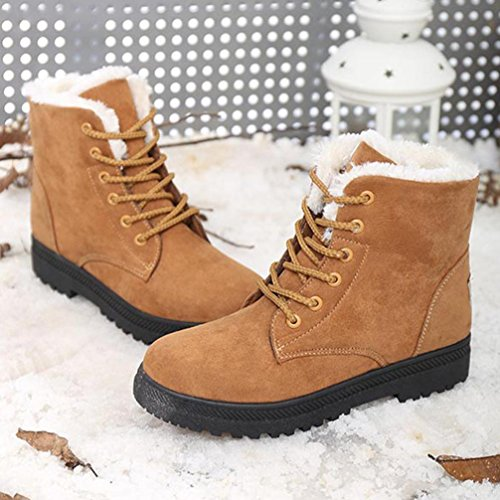 Bottines femme Kolylong Classique Les bretelles De plus le coton Chaud Bottes de neige 2016 Hiver Chaussures Marron