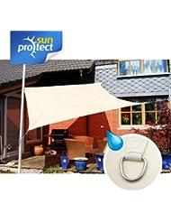 sunprotect toldo, vela de sombra waterproof, 3x3m, Quadrat, creme