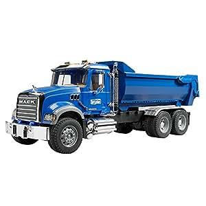 BRUDER - 02823 - Camion benne MACK Granite Halfpipe - Bleu