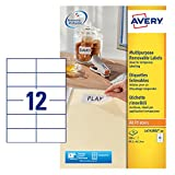 Avery L4743REV-25 Self-Adhesive Removable Labels, 12 Labels Per A4 Sheet