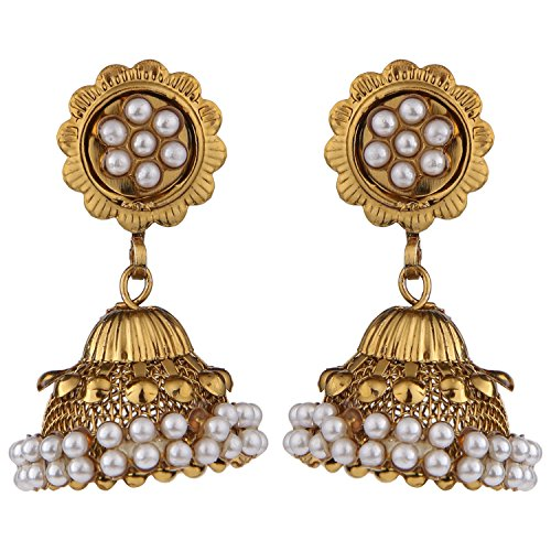 Efulgenz Antique Gold Plated Pearl Traditional Jhumka Jhumki Earrings for Girls and Women  available at amazon for Rs.185