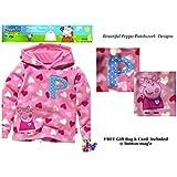 Peppa Pig niñas de forro polar con capucha Top * Con una hermosa rosa Peppa Pig parche Pink White Mixed 3-4 Years